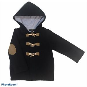 Wendy Bellissimo Navy Pea Coat Elbow Patches 18 Mo